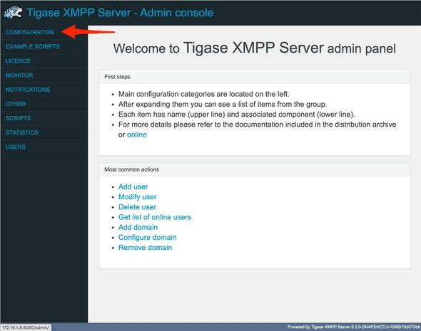 web admin main page